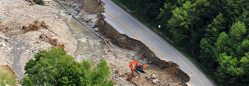 Road damage after Tropical Storm Irene